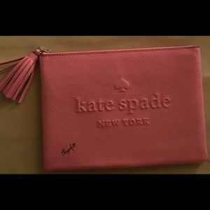 NWT Kate Spade Gia Pouch Logo Embossed Clutch Bag